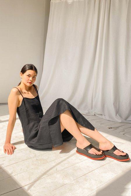 Alexa Stark Linen Wrap Dress - Black