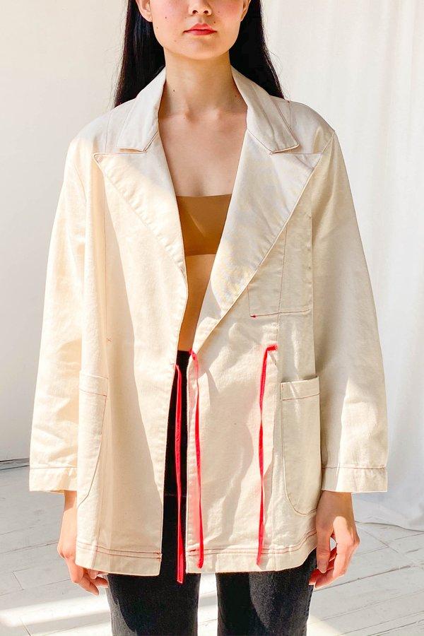 Alexa Stark Denim Wrap Blazer - Natural