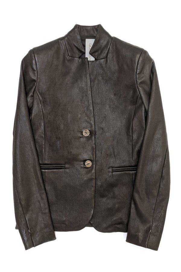 Giorgio Brato Leather Blazer - black