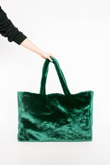 Giss Faux Fur Oversized Tote - Dark Green