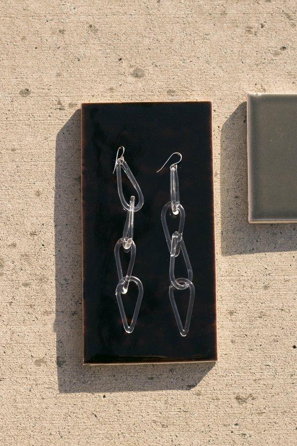 Jane D'Arensbourg Clear Tear Drop Chain Glass Earrings