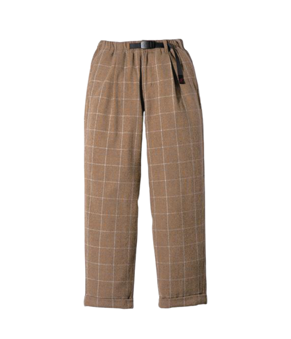 Gramicci Wool Blend Tuck Tapered Pants - Glen Check Camel