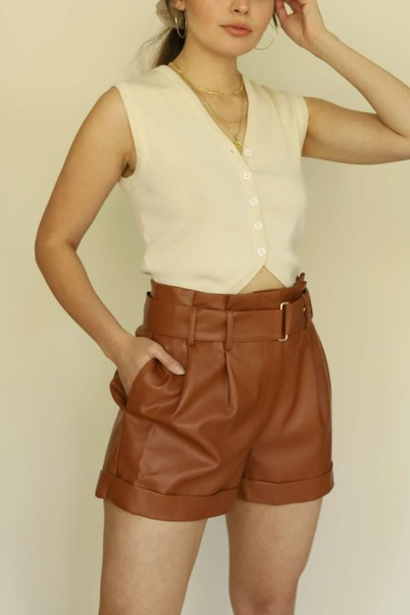 J.O.A. Paper Bag Faux Leather Shorts - Spice