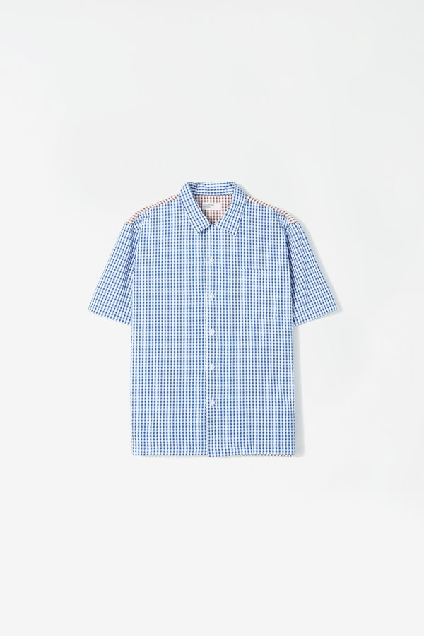 Universal Works Road shirt - gingham blue/brown
