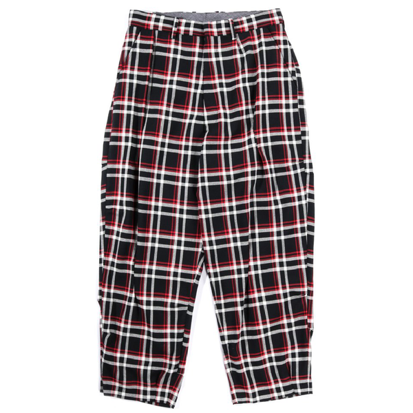 N.Hoolywood Random Tacked Wide Tapered Pants - BLACK CHECK