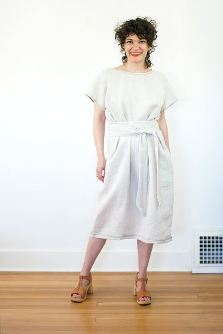 Erin MacLeod Shift Dress with Pockets in Natural Linen