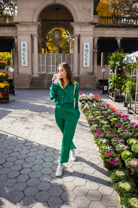 Montserrat New York The Silk Button Down - Emerald Green