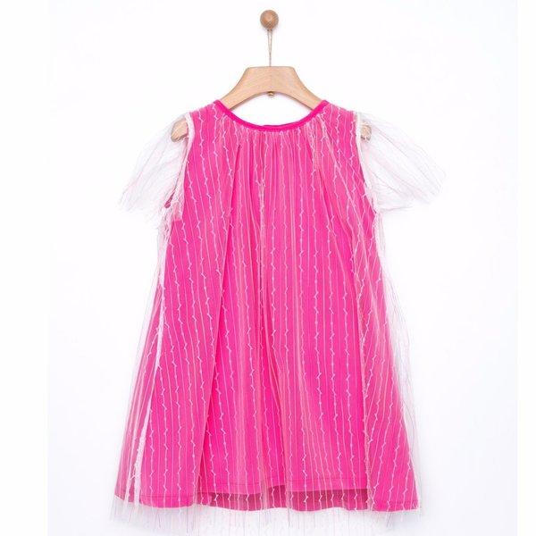 Kids yellowsub double striped tulle dress - fucshia