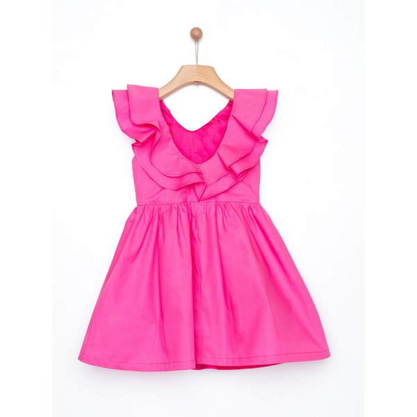 Kids yellowsub frilled dress - fucshia