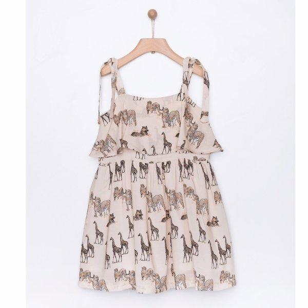 Kids yellowsub safari printed frill dress - sand