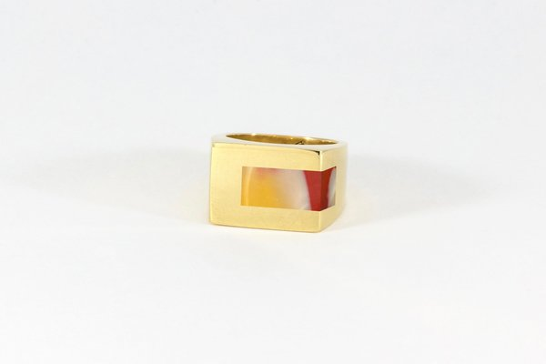 Legier Sunset Stone/Mookaite Strip Inlay Signet