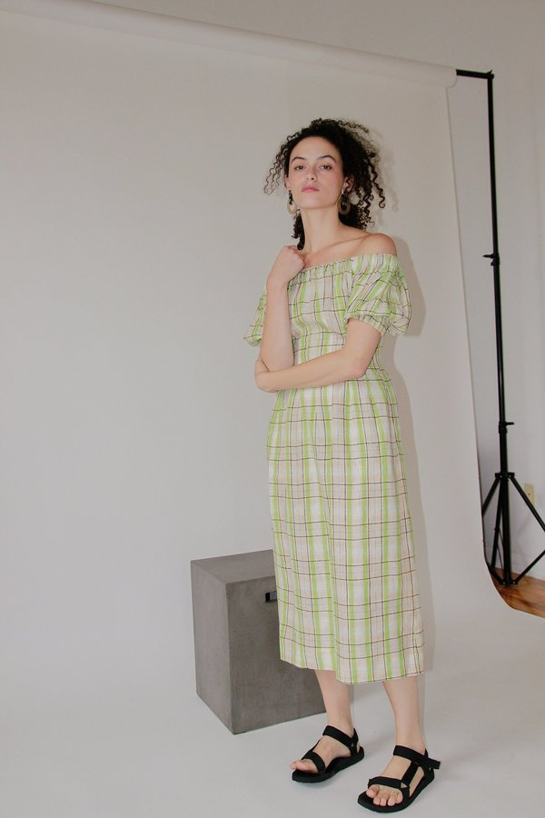 Ajaie Alaie ANDA DRESS - WASABI PLAID
