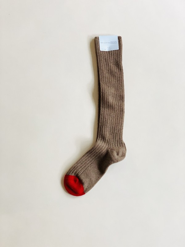 Hansel from Basel Skinny Rib Cashmere Knee-Hi Sock - Walnut