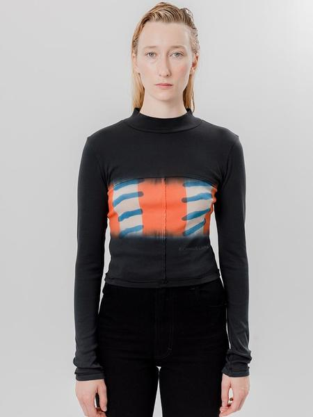 Eckhaus Latta Lapped Baby Turtleneck, Flag Stripe