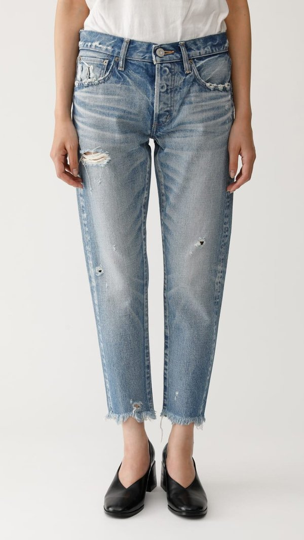 Moussy Kelley Tapered Distressed Jeans - Light Blue