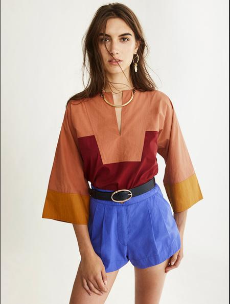 Vanessa Bruno Nam Colorblock Split-neck Blouse - Blush