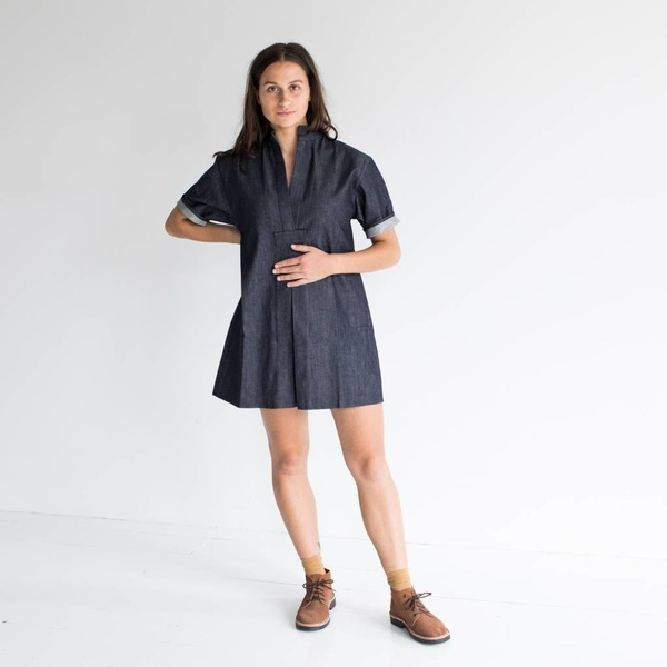 Sara Ruffin Costello Short Smock Dress - Denim