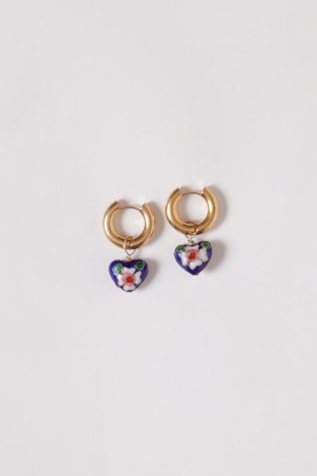 Et Toi Enameled Roma Heart Earrings - Brass