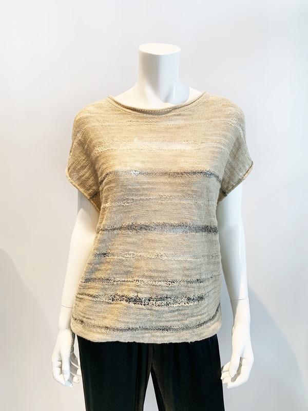 Sarah Pacini linen blend cap sleeve blouse  with metallic detail - FLAX