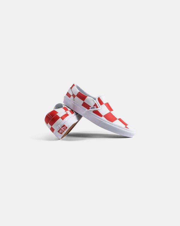 VANS Classic Slip On Leather Check Shoe - white/red