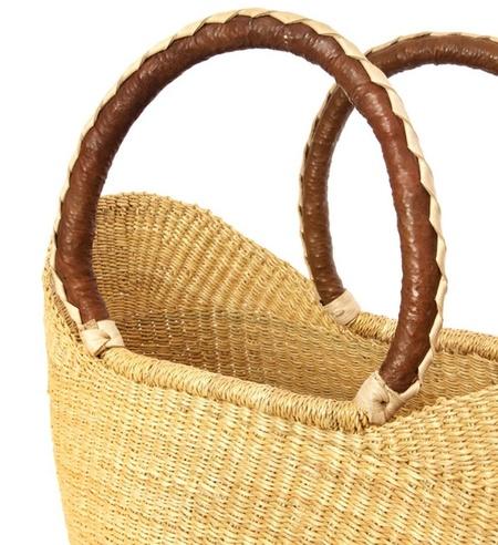 Swahili Baskets Natural Brown Leather Handle U Shopper