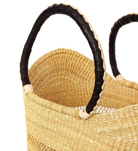 Swahili Baskets Natural Dark Brown Leather Lacey U Shopper