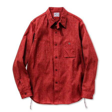 The Real McCoy's 8 HOUR UNION CHAMBRAY WORK SHIRT - RED TWIST