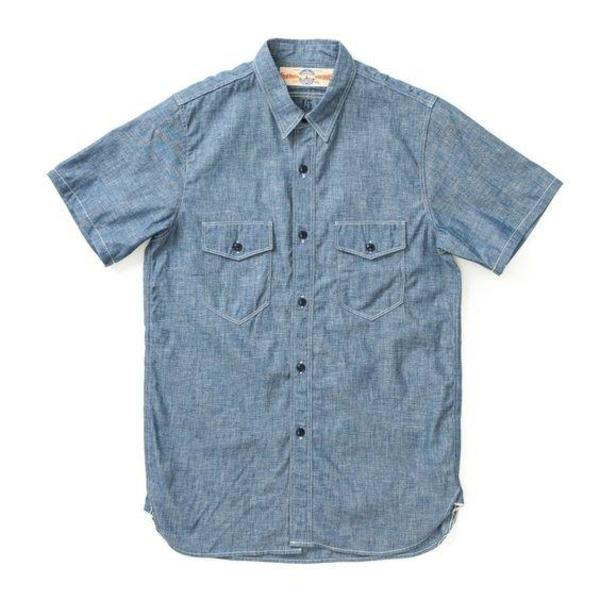 The Real McCoy's Short Sleeve Shirt - USN Blue Chambray