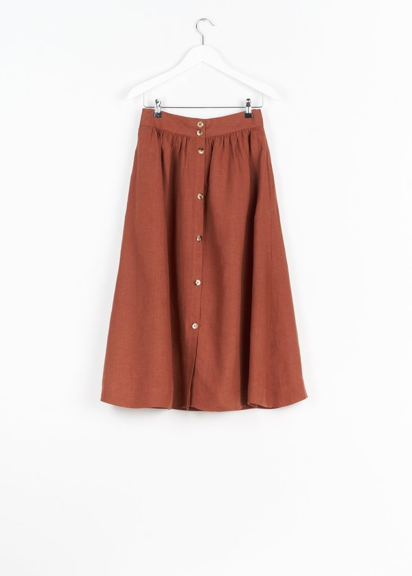 Jungle Folk Lourdes Linen Skirt - Rust