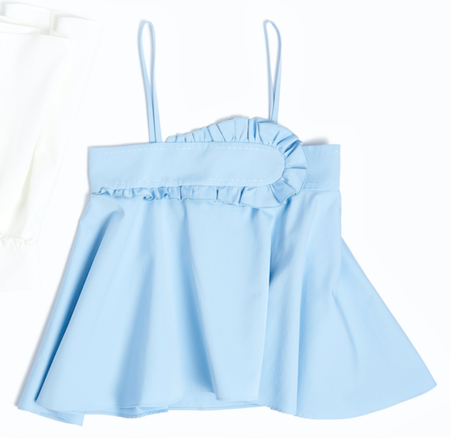 Carven Flounce Top - Baby Blue