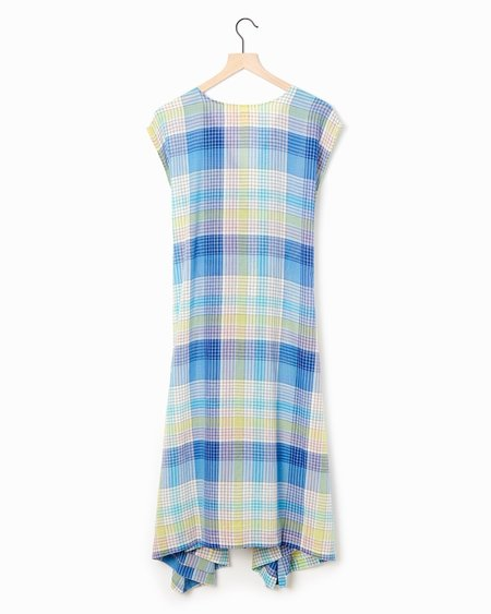 Mii Collection Handwoven Plaid Dress - Blue