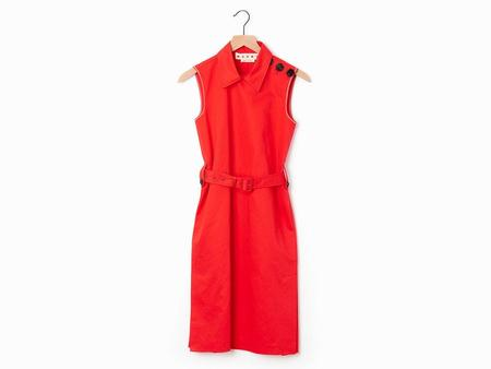 Marni Lacquered Belted Dress - Red