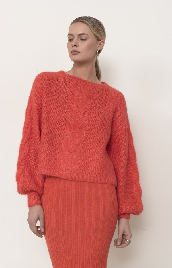 ELEVEN SIX SOPHIA SWEATER - HOT CORAL