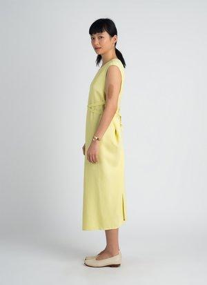 KAAREM Sài Sleeveless Side Tie Dress - Lemon