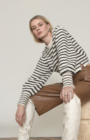 ELEVEN SIX KARA SWEATER - IVORY/BLACK STRIPE