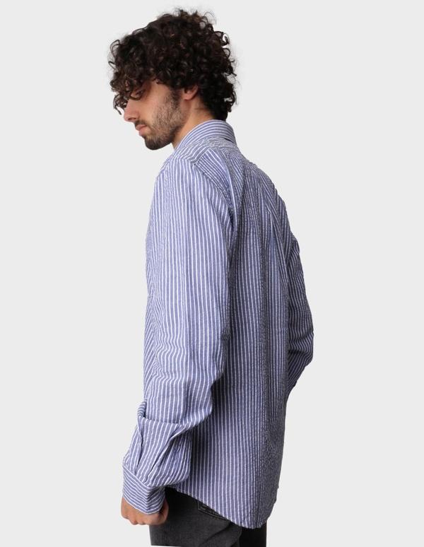 Aspesi Striped Seersucker Shirt - Navy