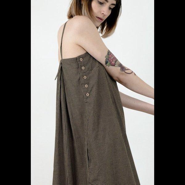 Micaela Greg Straight Pleated Dress - Gingham