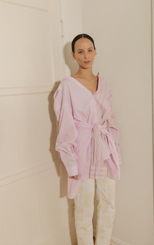 APPLE SAVE Cotton Twin Shirt - Pink/White