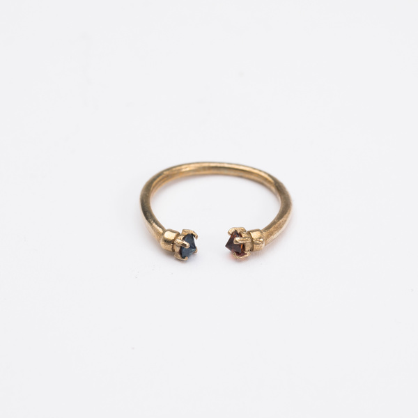 Aesa Mirror Ring with Blue Spinel and Spessersite