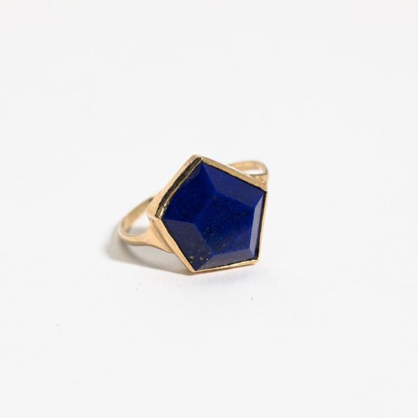 Aesa Hexagon Lapis Ring - 10K Gold