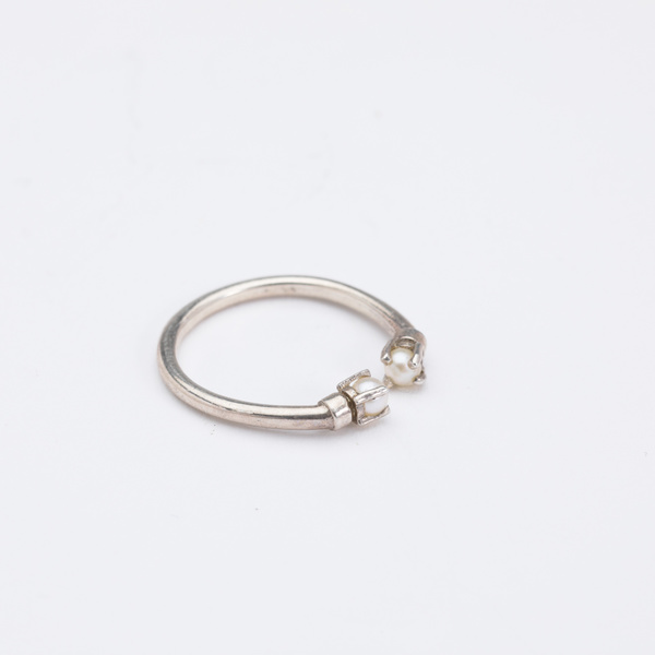 Aesa Mirror Ring with Pearls - sterling silver