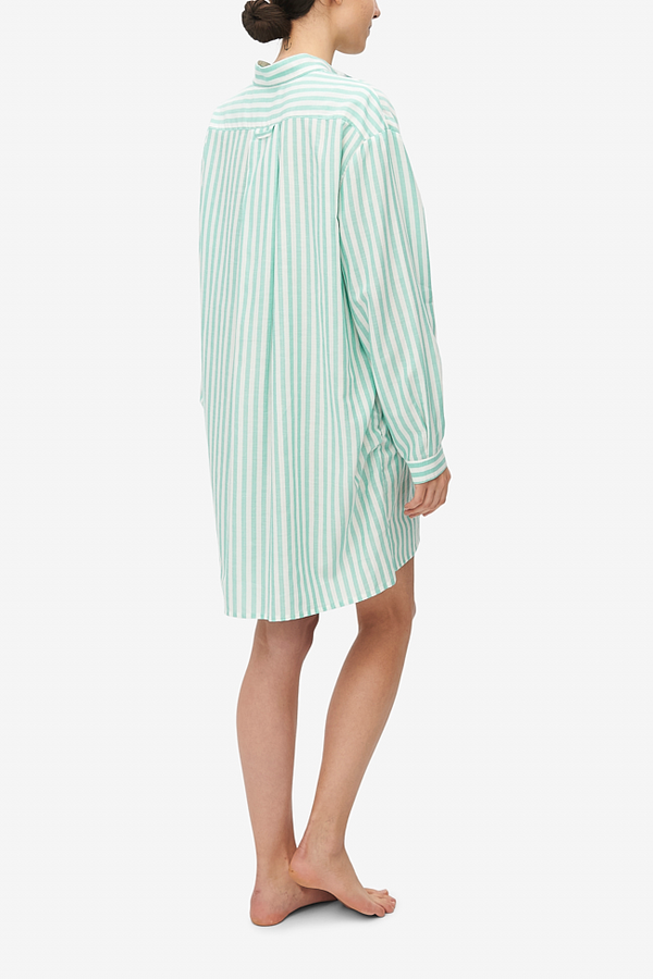 The Sleep Shirt Short Sleep Shirt - Green Stripe Twill