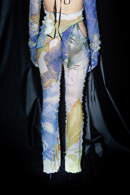 AUNÉ TROMPE L'ŒIL PRINT MESH CUT-OUT PANTS V2 - Yellow/Blue