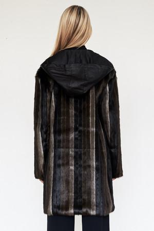 CF. Goldman Faux Mink Patch Coat