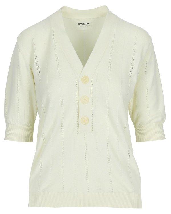 Aymara Kara Knitted Polo Shirt - Ecru