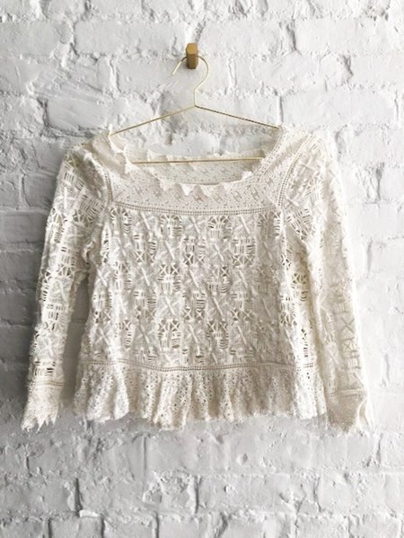 [pre-loved] Rebecca Taylor Lace Crochet Top - white