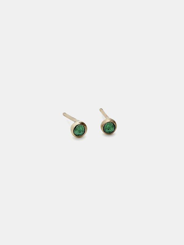 blanca monrós gómez emerald bezel stud - 14k gold