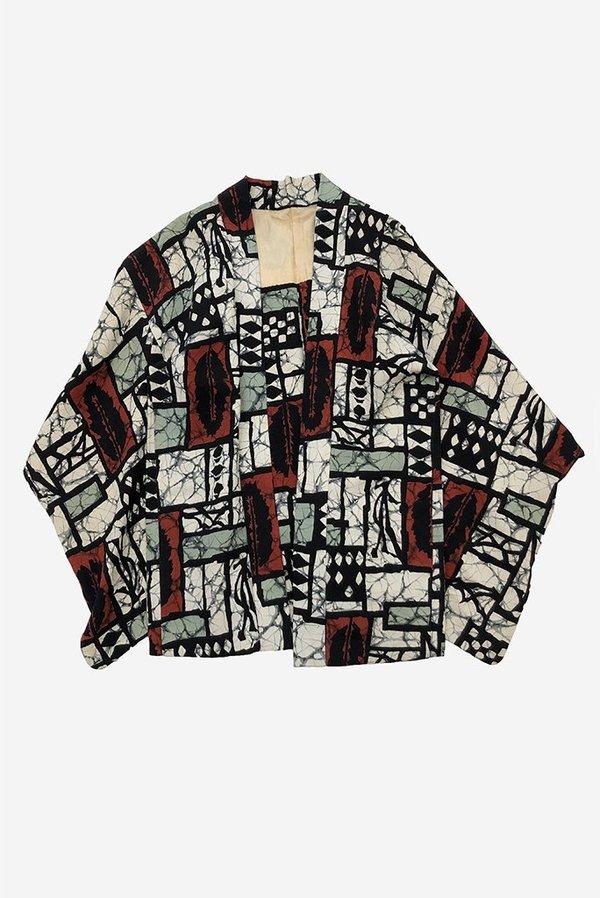 Iki Kimono Vintage Batik Haori Kimono - Red/Mint