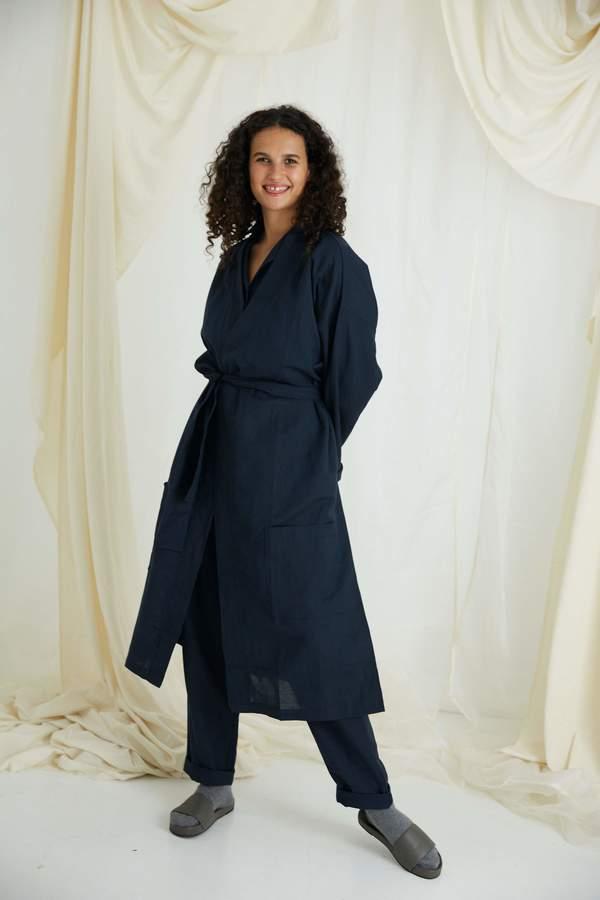 General Sleep Organic Cotton Linen Everyone Robe - Navy