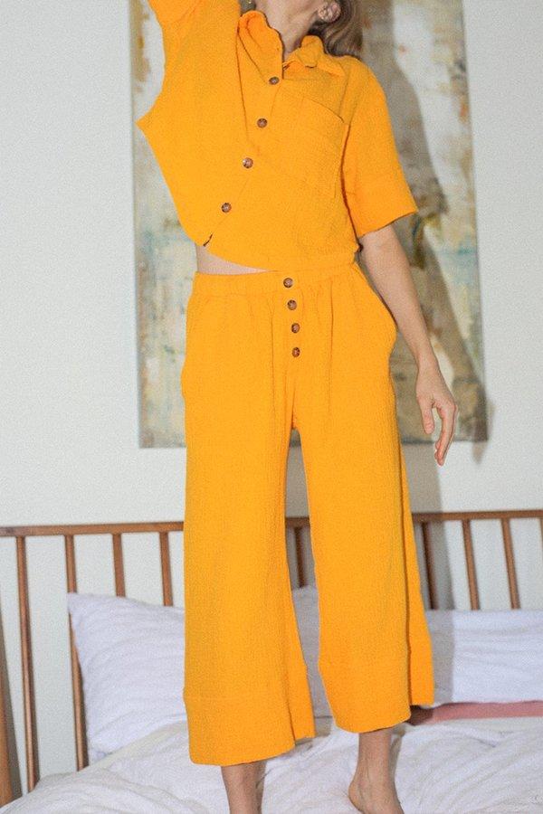 BACK BEAT RAGS Organic Cotton Pajama Bottom - Saffron